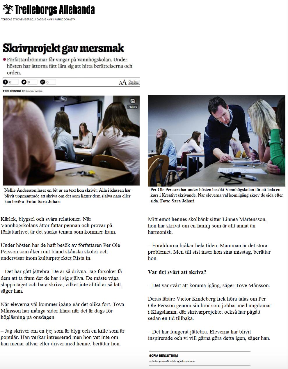 Artikel skrivgrupp - Trelleborgs Allehanda