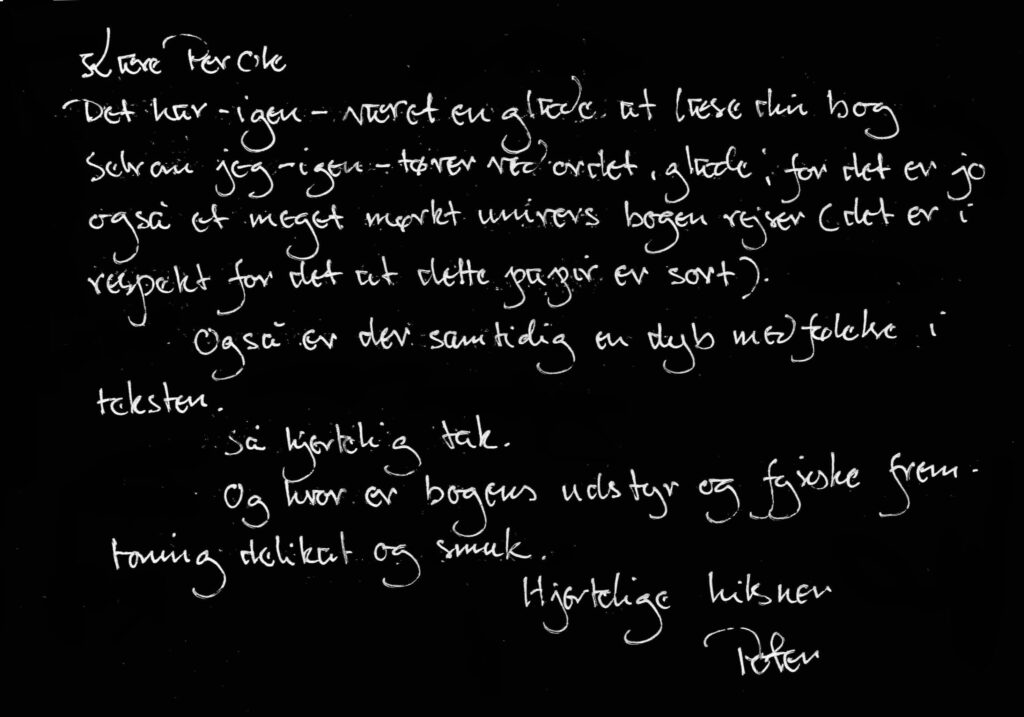 Brev, utlåtande, recension av Per Ole Perssons bok Vildhund av Peter Høeg