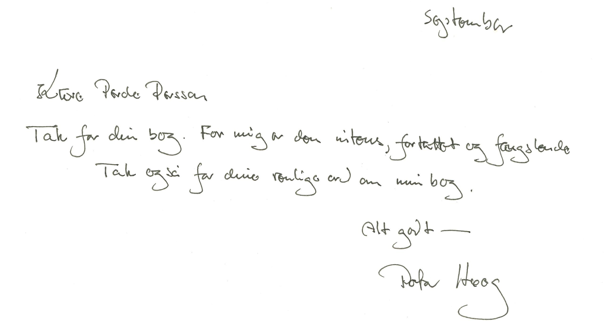 Brev, utlåtande om Per Ole Perssons bok Veteran av Peter Høeg