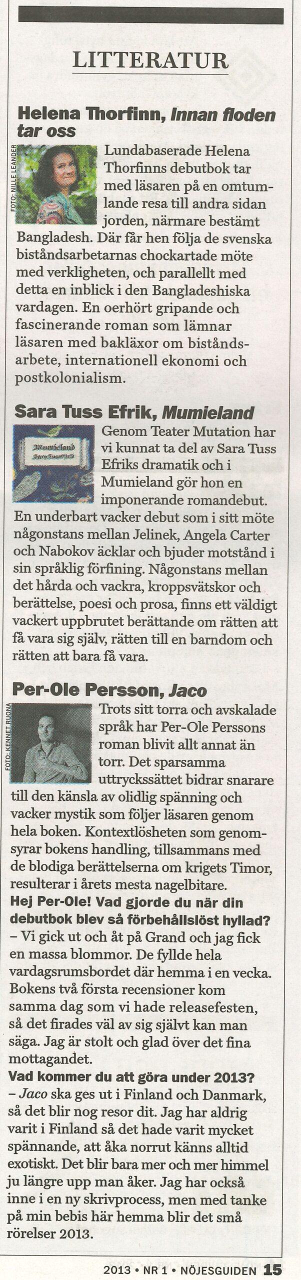 Nominering till Nöjesguidens Malmö/Lunda pris i litteratur