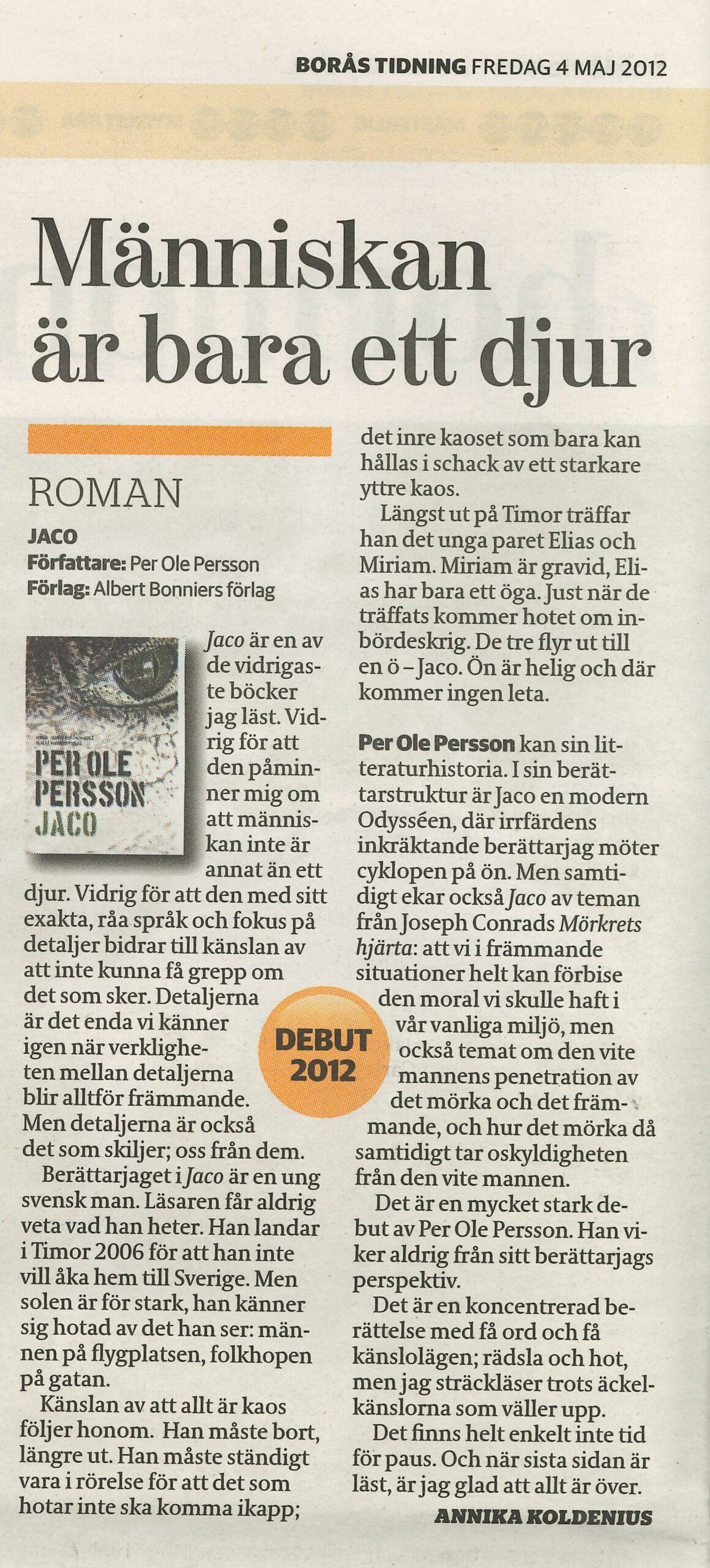 Recension av Per Ole Perssons bok Jaco i Borås Tidning