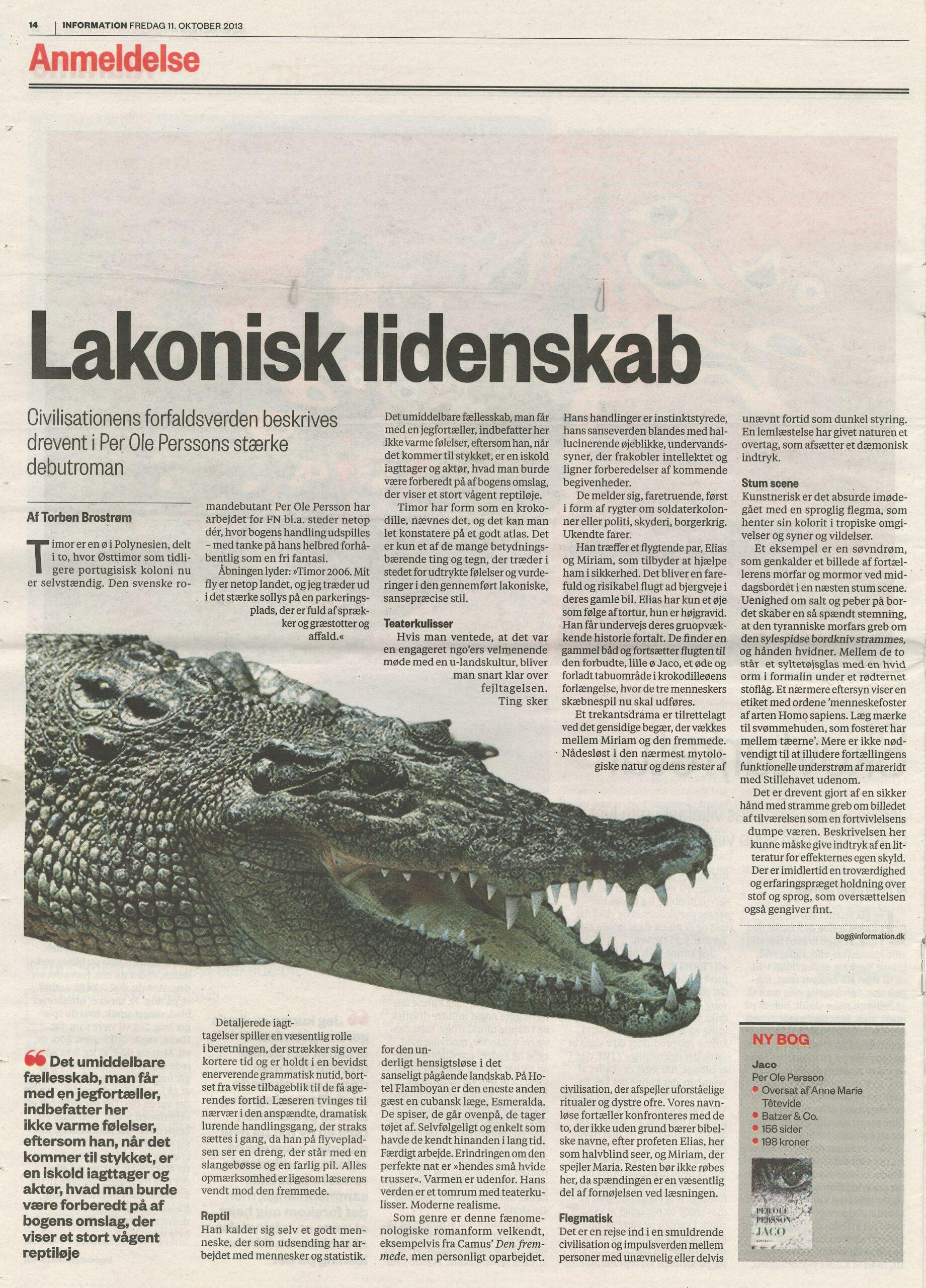 Recension av Per Ole Perssons bok Jaco i den danska tidningen Information