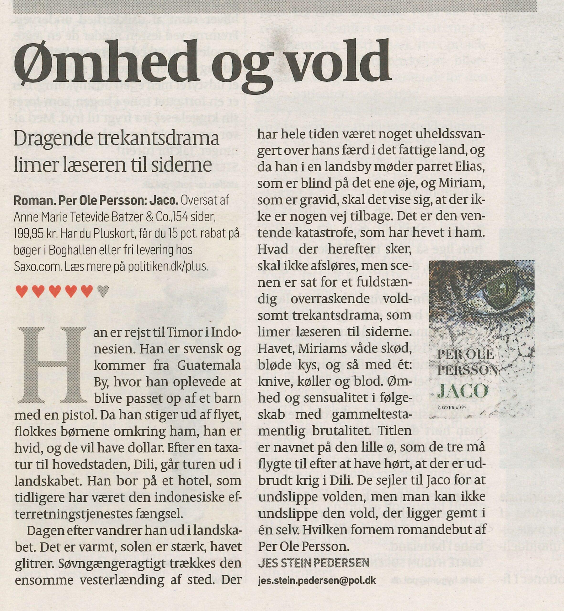 Recension av Per Ole Perssons bok Jaco i Politiken